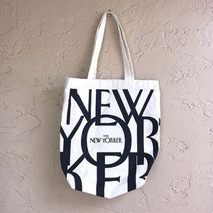 The New Yorker shopper tote bag canvas black cream
